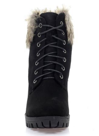 Czarne botki na słupku z futerkiem - Obuwie