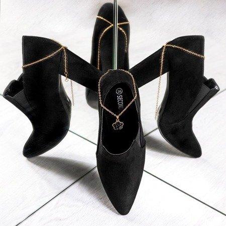 Czarne botki na wyższym słupku Prisha - Obuwie