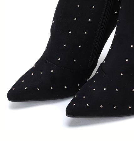 Czarne botki na szpilce z dżetami Audrey - Obuwie