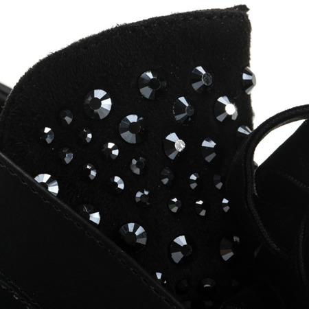Czarne botki z ekoskóry z wstażką - Obuwie