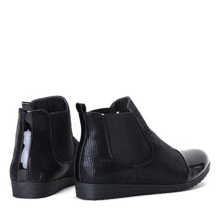 Czarne botki z lakierowanym noskiem My Plan - Obuwie