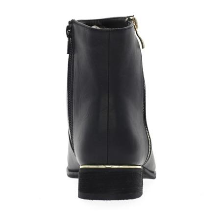 Czarne botki z ozdobnym suwakiem - Obuwie