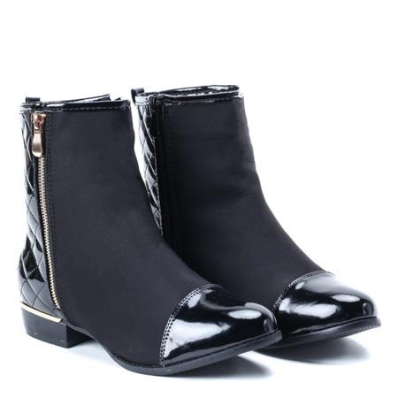 Czarne botki z pikowaniem - Obuwie
