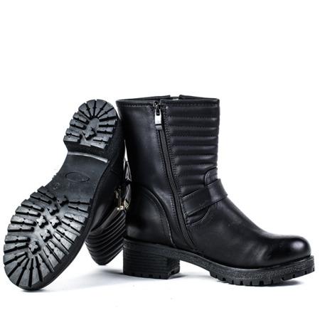 Czarne botki z sprzączkami - Obuwie