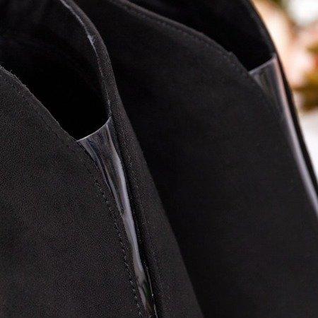 Czarne botki z wycięciem z przodu na wyższej szpilce Musa Blush - Obuwie