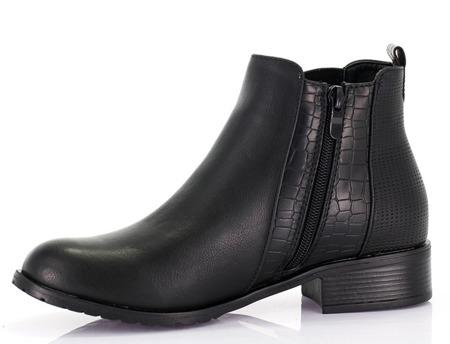 Czarne botki ze ściągaczem - Obuwie