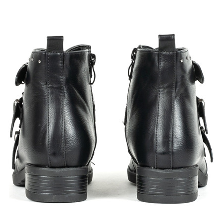 Czarne botki ze sprzączkami Luvien - Obuwie