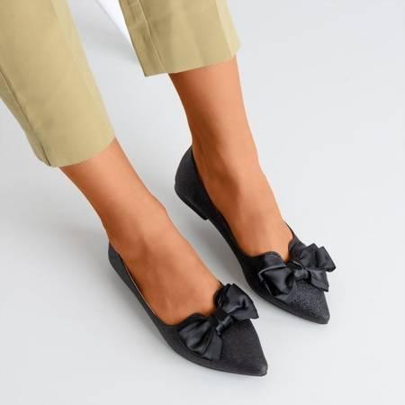 Czarne brokatowe baleriny damskie z kokardką Claris - Obuwie