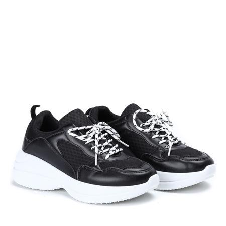 Czarne buty sportowe na grubej podeszwie Hailey - Obuwie