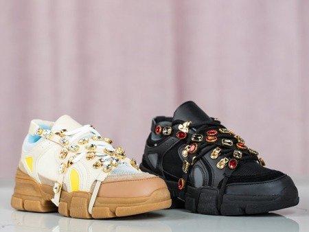 Czarne buty sportowe na grubej podeszwie z kryształkami Olysseia - Obuwie
