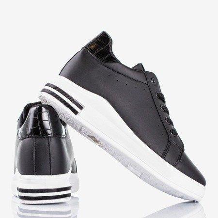 Czarne buty sportowe na krytym koturnie Sliomenea - Obuwie