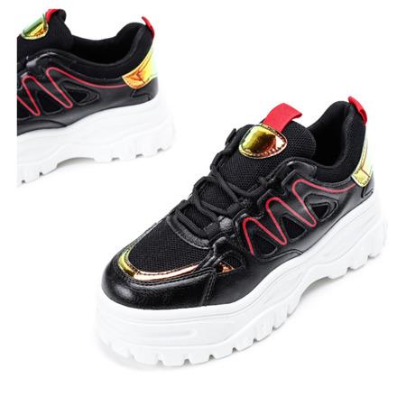 Czarne buty sportowe z holograficznymi wstawkami Lomami - Obuwi