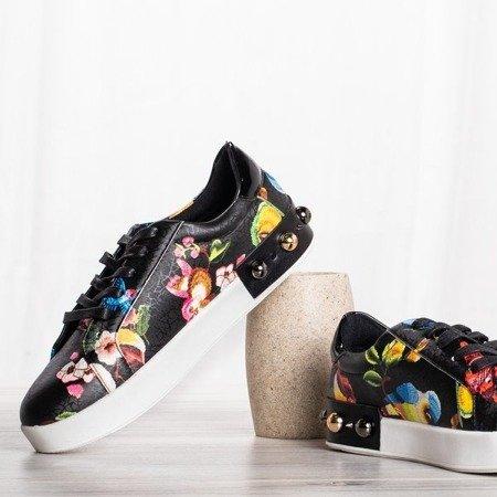 Czarne buty sportowe z ozdobami Kolibri - Obuwie