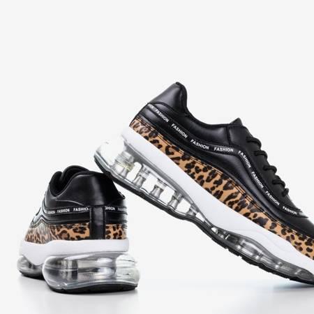 Czarne buty sportowe ze wstawką w panterkę Gromin - Obuwie