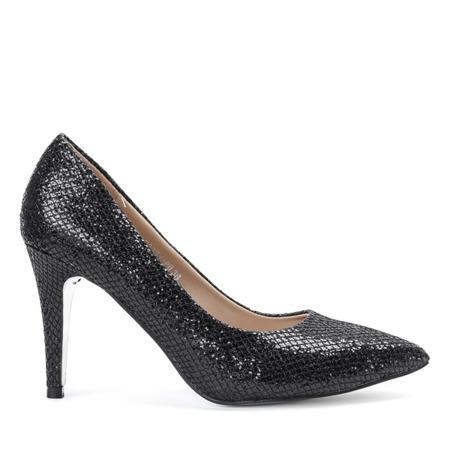 Czarne czółenka na szpilce Shiny Diamond - Obuwie