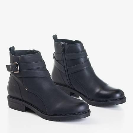 Czarne damskie botki na płaskim obcasie Tideja- Obuwie
