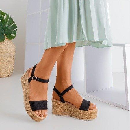 Czarne damskie sandały na koturnie Bussia - Obuwie