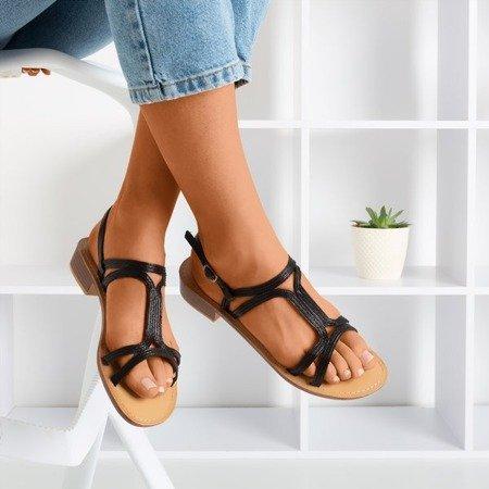 Czarne damskie sandały na niskim obcasie Treunia - Obuwie