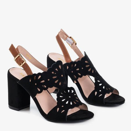 Czarne damskie sandały na słupku Taba - Obuwie