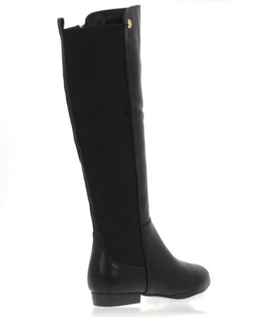 Czarne, długie kozaki z prążkowaną wstawką - Obuwie