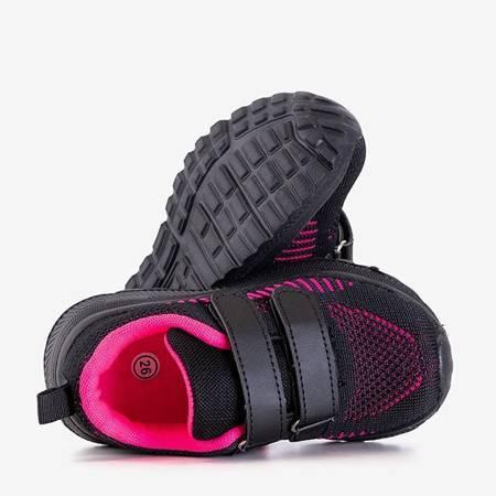 Czarne dziecięce sportowe buty z różowymi wstawkami Nerida - Obuwie