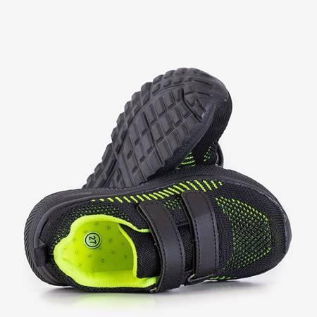 Czarne dziecięce sportowe buty z zielonymi wstawkami Nerida - Obuwie