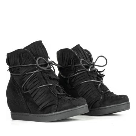 Czarne dziewczęce sneakersy na krytym koturnie Gabi - Obuwie