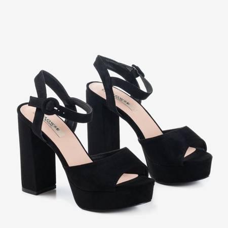 Czarne eko-zamszowe sandały na wyższym słupku Lamberto - Obuwie