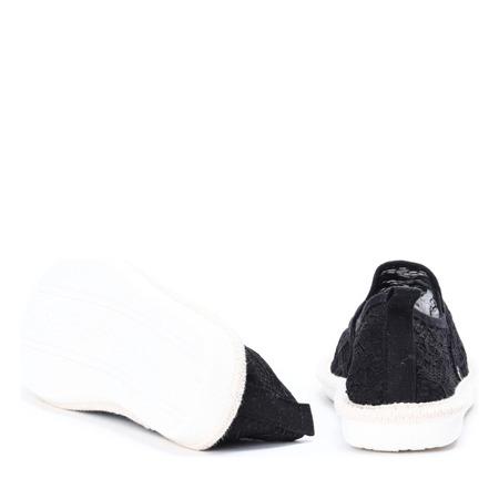 Czarne espadryle zdobione koronkowym materiałem Rose - Obuwie