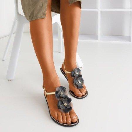 Czarne gumowe sandały z kwiatkami Fala - Obuwie