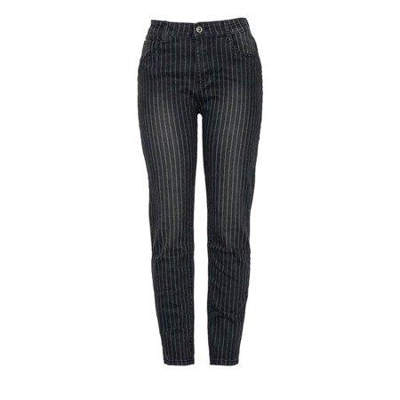 Czarne jeansowe spodnie w białe paski - Spodnie