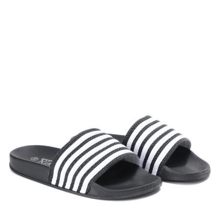 Czarne klapki w białe paski Seganea - Obuwie
