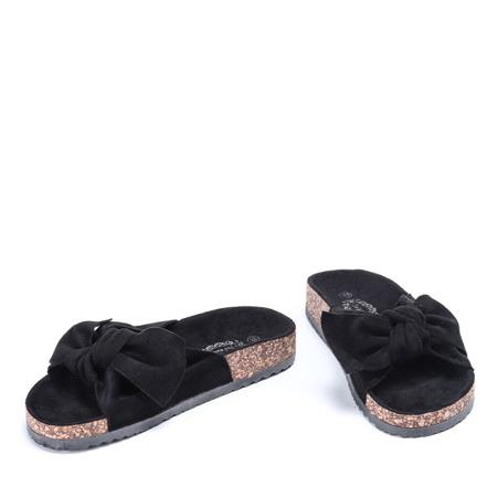 Czarne klapki z kokardką Yinny - Obuwie