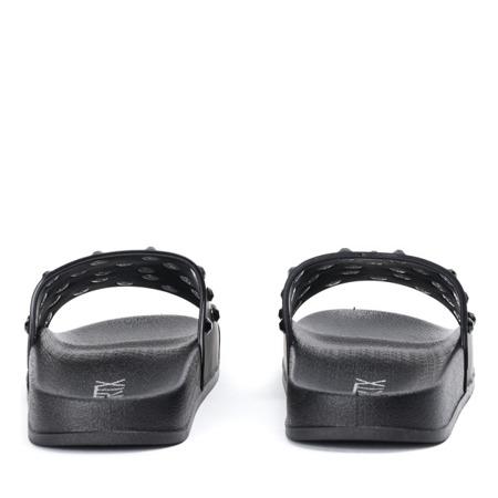 Czarne klapki z kryształkami Retana - Obuwie