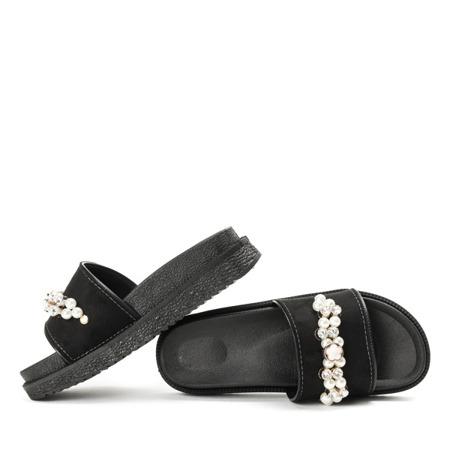 Czarne klapki z ozdobnymi kamyczkami Marbel - Obuwie