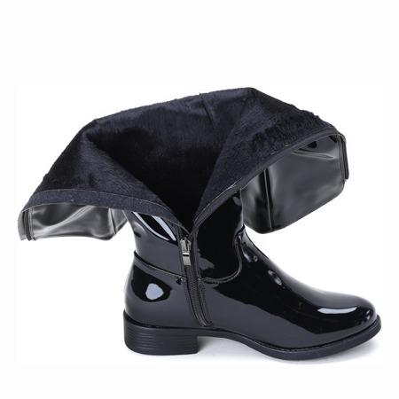 Czarne kozaki lakierowane Wild Thoughts - Obuwie