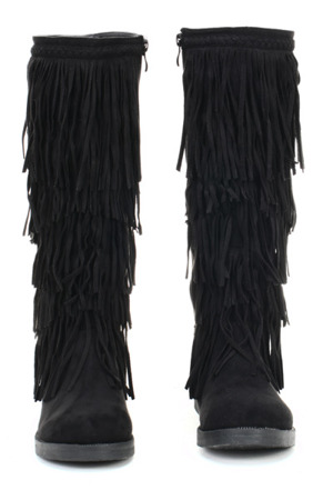 Czarne kozaki z frędzlami - Obuwie