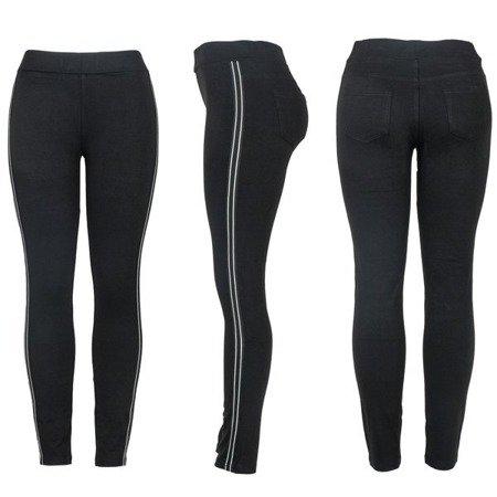 Czarne legginsy z lampasami - Spodnie