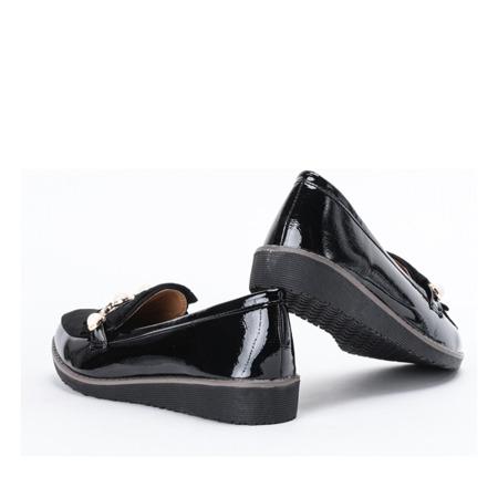 Czarne mokasyny z perełkami Crystale - Obuwie