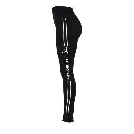 Czarne ocieplone getry z białym printem - Spodnie