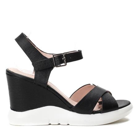 Czarne sandały na koturnie Bexley Obuwie Czarny