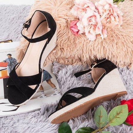 Czarne sandały na koturnie Ficia - Obuwie
