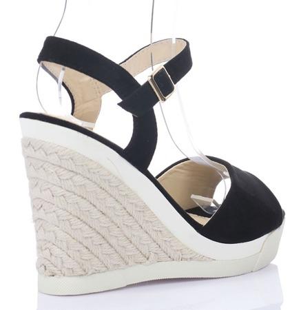 Czarne sandały na koturnie Paleira - Obuwie