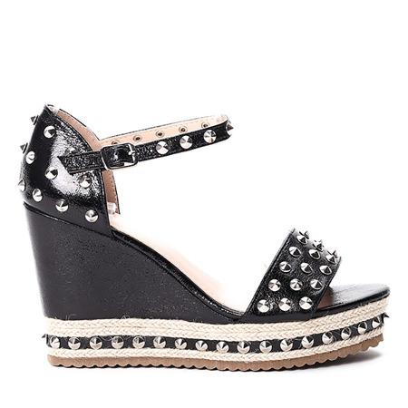 Czarne sandały na koturnie Postina - Obuwie