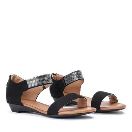 Czarne sandały na niskiej koturnie Acellia - Obuwie