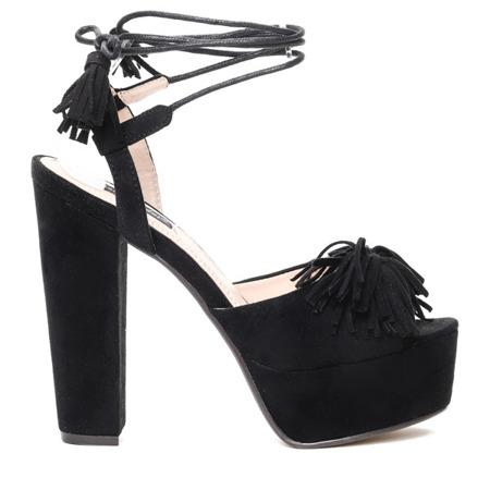 Czarne sandały na platformie - Obuwie