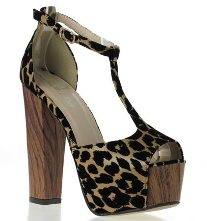 Czarne sandały na słupku w zwierzęce rozetki Zendaya- Obuwie