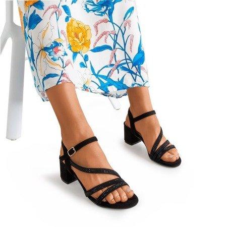 Czarne sandały na słupku z cyrkoniami Jasola - Obuwie