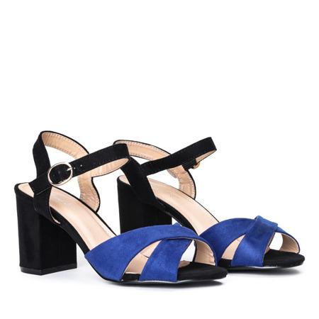 Czarne sandały na słupku z granatowymi paseczkami Vivina - Obuwie