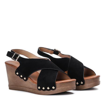 Czarne sandały na wysokiej koturnie Vaia - Obuwie